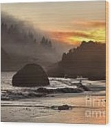 Fog And Fire Wood Print by Adam Jewell