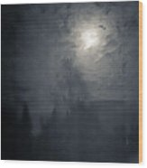 Fog And Moon Wood Print