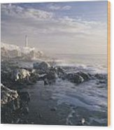 Fog And Rocky Shoreline In Winter With Wood Print