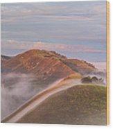 Fog Between Hills At Sunrise Wood Print