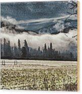 Fog Beyond The Tilled Field  Wood Print