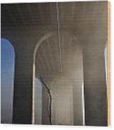 Fog Bridge Wood Print