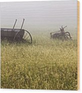 Fog Covered Field Wood Print