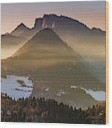 Fog Covered Mountains At Sunset Wood Print