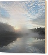 Fog Covered River Wood Print