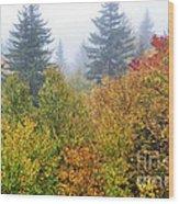 Fog Fall Day Wood Print