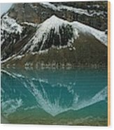 Fog Has Lifted From Lake Louise Wood Print