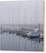 Fog In Marina I Wood Print