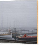 Fog In Marina IIi Wood Print