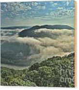 Fog In The Grand View Valley Wood Print