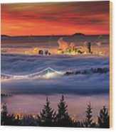 Fog Inversion Over Vancouver Wood Print by Alexis Birkill