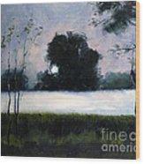 Fog Moon Wood Print