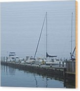 Fog On The Marina - Jersey Shore Wood Print