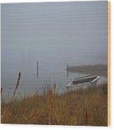 Fog On The Shore Wood Print