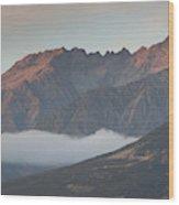 Fog Over Mountain At Dawn, Aorakimount Wood Print