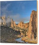 Fog Over Smith Rock Wood Print
