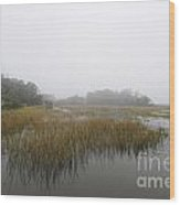 Fog Over The Marsh Wood Print
