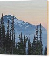 Mt. Rainier's Foggy Sunset Wood Print