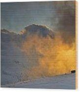 Foggy At Sunset 3000 Meters Wood Print