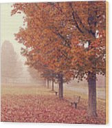 Foggy Autumn Morning Etna New Hampshire Wood Print