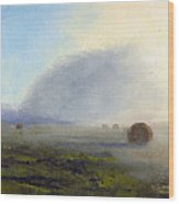 Foggy Bales Wood Print