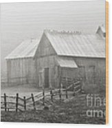 Foggy Barn Wood Print