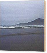 Foggy Beach And Lighthouse Wood Print