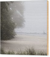 Foggy Beach Wood Print