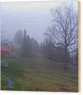 Foggy Cabin And Hillside Wood Print