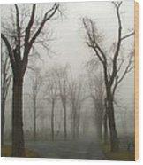 Foggy Cemetery Road Wood Print