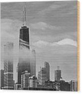 Foggy City Wood Print