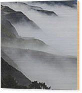 Foggy Coastal Hills Wood Print
