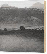 Foggy Countryside Wood Print