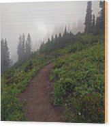 Foggy Crest Trail Wood Print by Mike  Dawson