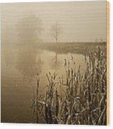 Foggy Day At Silver Lake Wood Print