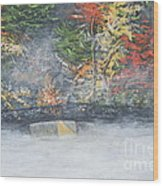 Foggy Fall Lake Wood Print