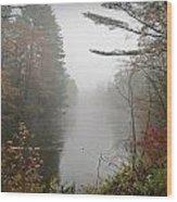 Foggy Fall River Wood Print