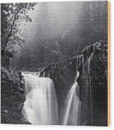Foggy Falls Wood Print