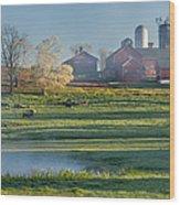 Foggy Farm Morning Wood Print