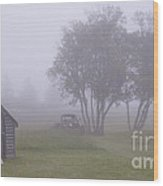 Foggy Farm Yard Wood Print