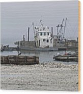 Foggy Harbor Wood Print