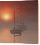 Foggy Harbor Sunrise Wood Print