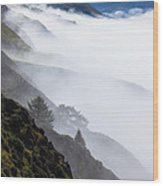 Foggy Hillside Wood Print