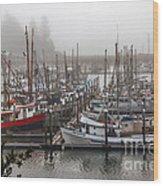 Foggy Ilwaco Port Wood Print by Robert Bales