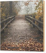 Foggy Lake Park Footbridge Wood Print by Scott Norris