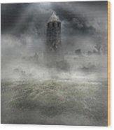 Foggy Landscape With Dark Tower Wood Print