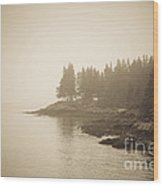 Foggy Maine Coast Wood Print by Diane Diederich
