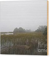 Foggy Marsh Wood Print