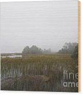 Foggy Marsh Wood Print