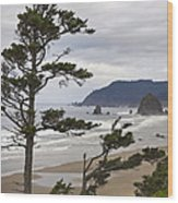 Foggy Morning At Tolovana Beach Oregon 2 Wood Print